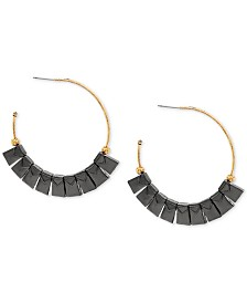 Steve Madden Two-Tone Square Beaded Open Hoop Earrings