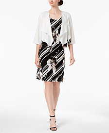R & M Richards Petite Printed Dress, Necklace & Waterfall Jacket