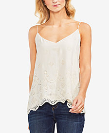 Vince Camuto Scalloped Eyelet Lace-Up Camisole Top