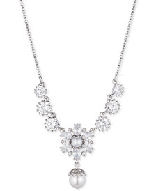 "Marchesa Silver-Tone Crystal & Imitation Pearl 19"" Lariat Necklace, Created for Macy's"