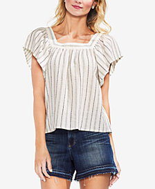 Vince Camuto Metallic-Stripe Peasant Top