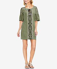 Vince Camuto Cotton Drop-Shoulder Embroidered Dress