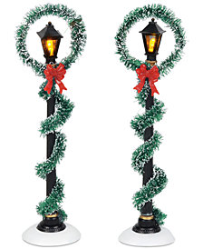 Department 56 Villages Christmas Wreath Street Lights, Set of 2