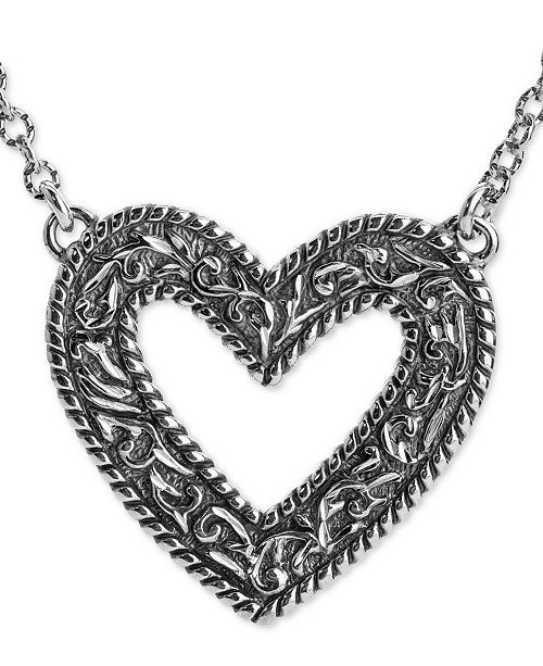"American West Decorative Open Heart 22"" Pendant Necklace in Sterling Silver"