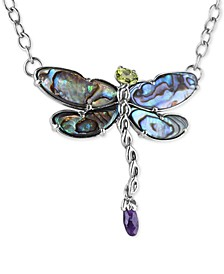 "Multi-Stone (8-5/8 ct. t.w.) Dragonfly 19"" Pendant Necklace in Sterling Silver"