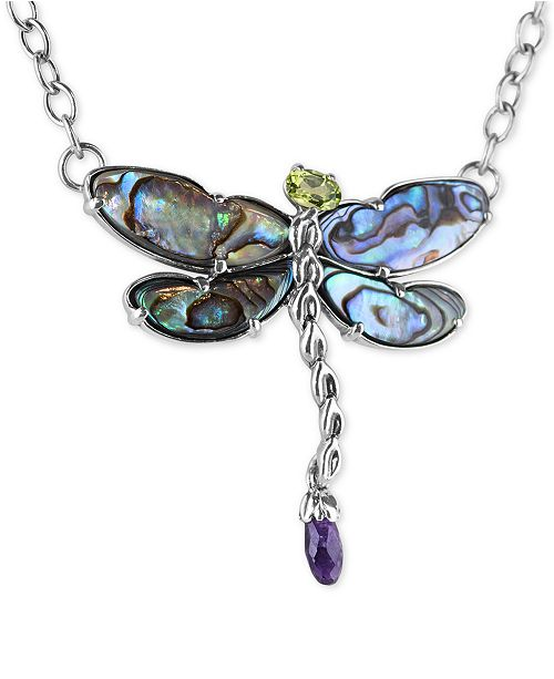 "Carolyn Pollack Multi-Stone (8-5/8 ct. t.w.) Dragonfly 19"" Pendant Necklace in Sterling Silver"