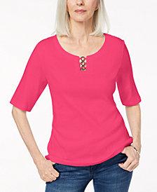Karen Scott Cotton Metal-Ring T-Shirt, Created for Macy's