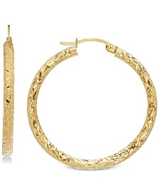 Textured Hoop Earrings in 14k Gold, 1 3/8 inch