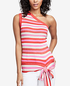 RACHEL Rachel Roy Striped One-Shoulder Top, Created for Macy's