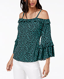 MICHAEL Michael Kors Leopard-Print Cold-Shoulder Top