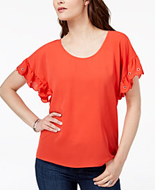 MICHAEL Michael Kors Grometted Flutter-Sleeve Top, Regular & Petite, Created for Macy's