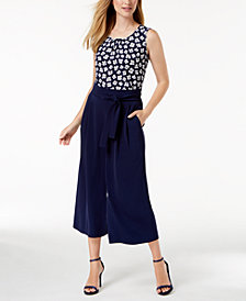 Anne Klein Printed Shell & Cropped Wide-Leg Pants