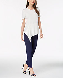 Anne Klein Asymmetrical Top & Slim-Fit Pants