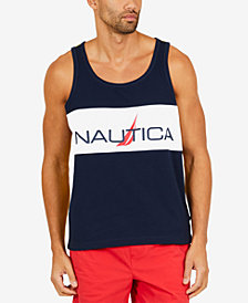 Nautica Men's Slim-Fit Pieced Colorblocked Logo-Print Tank