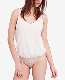 Free People Sydney Lace-Contrast Cotton Bodysuit
