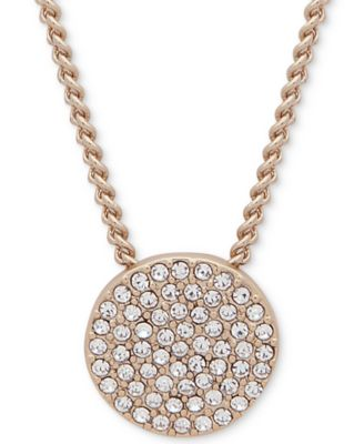 """Pavé Disc 19"""" Pendant Necklace, Created for Macy's"""