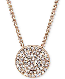 "DKNY Pavé Disc 19"" Pendant Necklace"