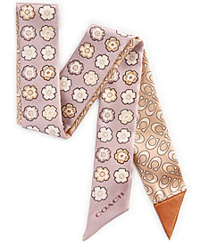 COACH Tea Rose Skinny Signature Scarf With Leather Personalization Tab