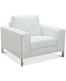 "CLOSEOUT! Cipolia 43"" Leather Armchair with Metal Inlays, Created For Macy's"