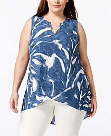 Alfani Plus Size High-Low Sleeveless Tunic, Created for Macy's