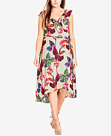City Chic Trendy Plus Size Printed Wrap Midi Dress