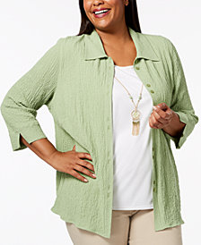 Alfred Dunner Plus Size Parrot Cay Layered-Look Necklace Top