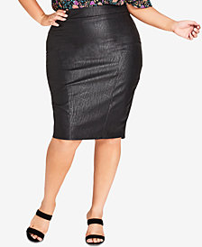 City Chic Trendy Plus Size Faux-Leather Pencil Skirt