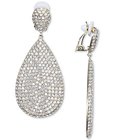 Nina Silver Tone Pavé Clip On Drop Earrings
