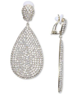 NINA Silver-Tone Pave Clip-On Drop Earrings in Gold/White