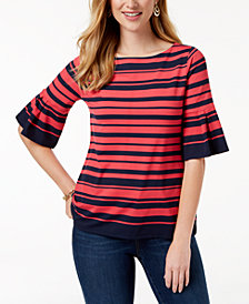Charter Club Printed Flutter-Sleeve Top, Created for Macy's
