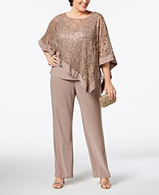 Plus Size Sequined Lace Pantsuit