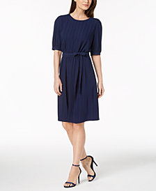 Anne Klein Striped Belted Dress
