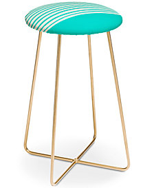 Deny Designs Leah Flores Aqua Stripes Counter Stool