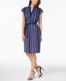 Anne Klein Cotton Striped Belted Dress