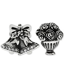 2-Pc. Set Wedding Bells & Bouquet Bead Charms in Sterling Silver