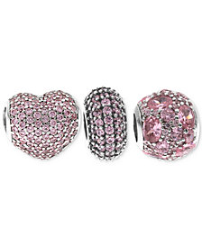 Rhona Sutton 3-Pc. Set Pavé Bead Charms in Sterling Silver