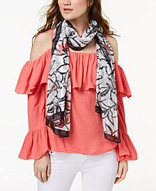 Calvin Klein Floral-Print Chiffon Scarf