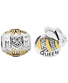 Two-Tone 2-Pc. Set Cubic Zirconia Floral Mom & Queen Bee Bead Charms in Sterling Silver