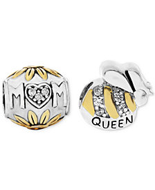 Rhona Sutton Two-Tone 2-Pc. Set Cubic Zirconia Floral Mom & Queen Bee Bead Charms in Sterling Silver