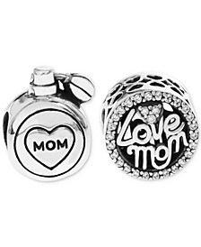 2-Pc. Set Cubic Zirconia Love Mom & Perfume Bead Charms in Sterling Silver