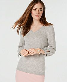 Charter Club Pure Cashmere V-Neck Tie-Sleeve Sweater, Created for Macy's