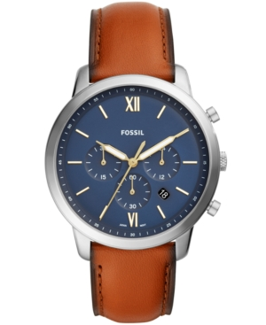 Men's Neutra Chronograph Brown Leather Strap Watch 44mm