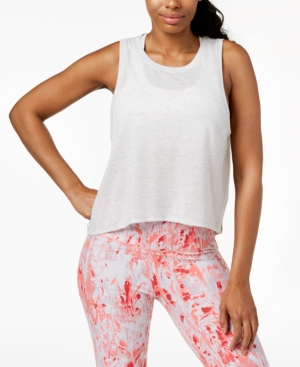 b152527af10ae Calvin Klein Performance Epic Knit High-Low Tank Top In Optic Heather