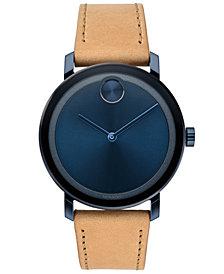 Movado Men's Swiss BOLD Evolution Beige Leather Strap Watch 40mm