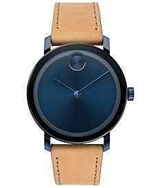 Movado Men's Swiss BOLD Evolution Beige Leather Strap Watch 40mm