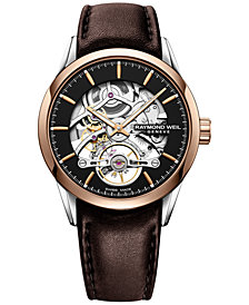RAYMOND WEIL Men's Swiss Automatic Freelancer 1212 Brown Leather Strap Watch 42mm
