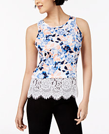 Maison Jules Printed Lace-Trim Tank Top, Created for Macy's