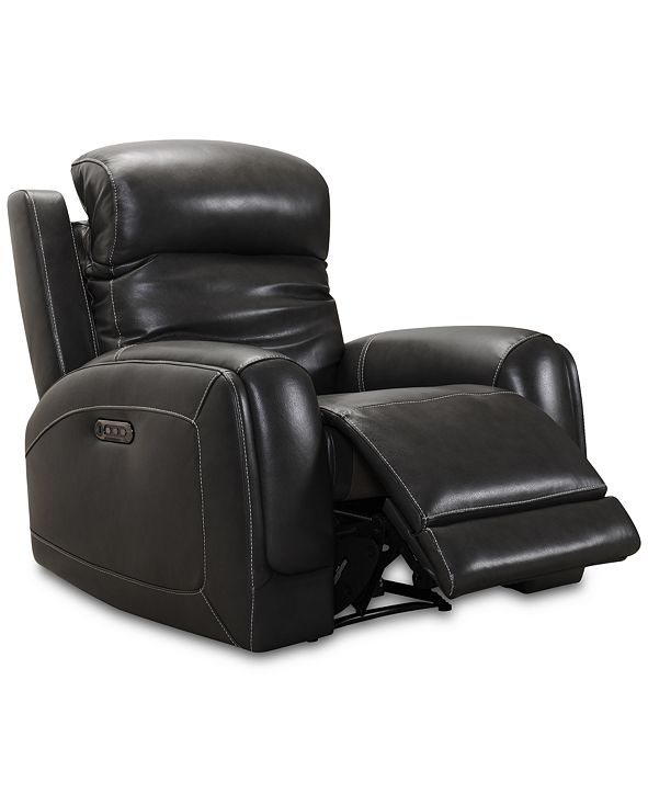 Furniture Winterton Leather Power Recliner With Power Headrest, Lumbar And USB Power Outlet