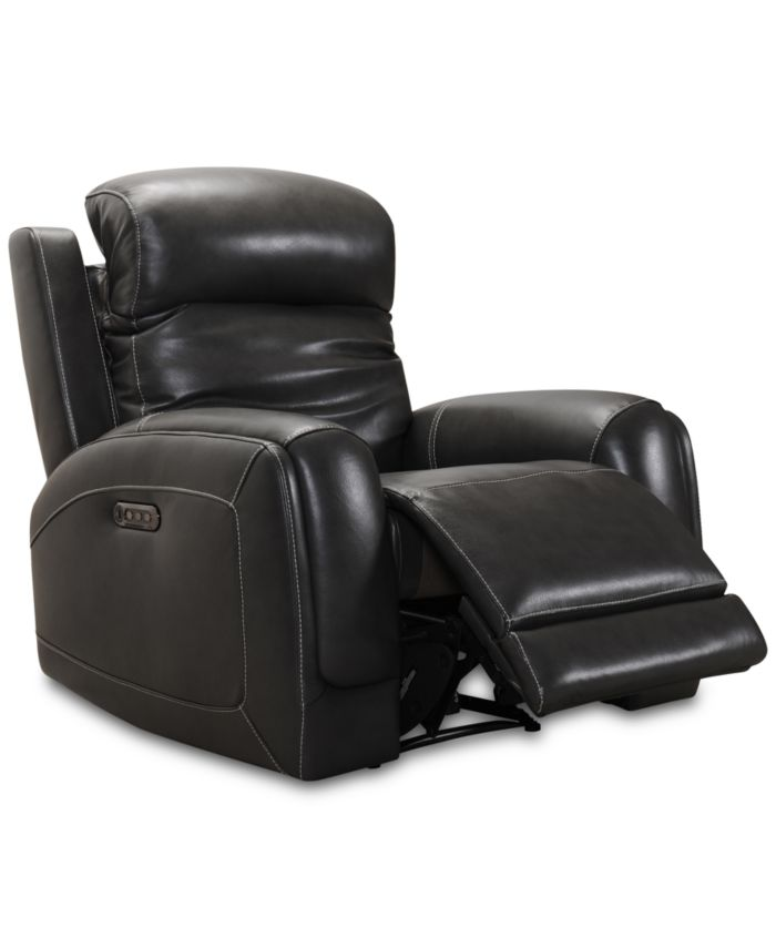 Furniture CLOSEOUT! Winterton Leather Power Recliner With Power Headrest, Lumbar And USB Power Outlet & Reviews - Recliners - Furniture - Macy's