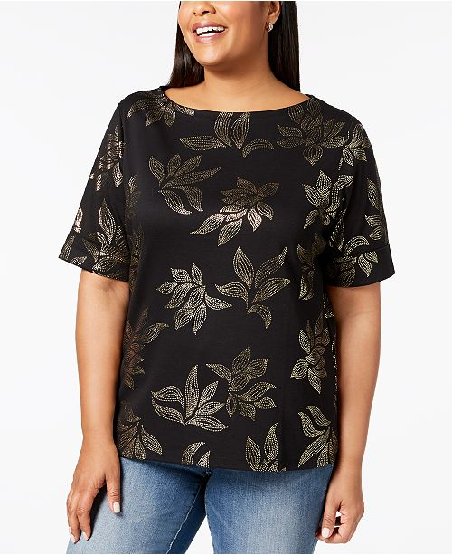 Karen Scott Plus Size Cotton Printed Elbow-Sleeve Top, Created for Macy's